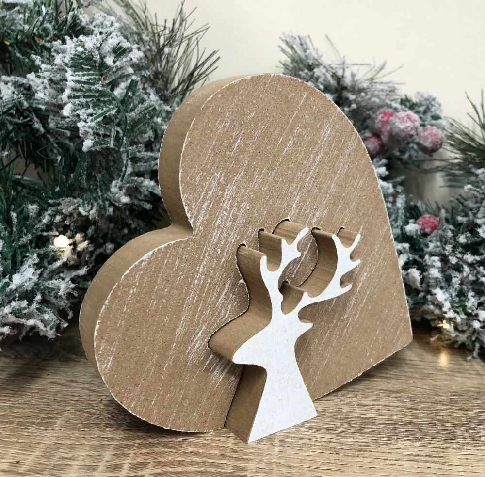 Heart and Reindeer Wood Jigsaw Christmas Ornament